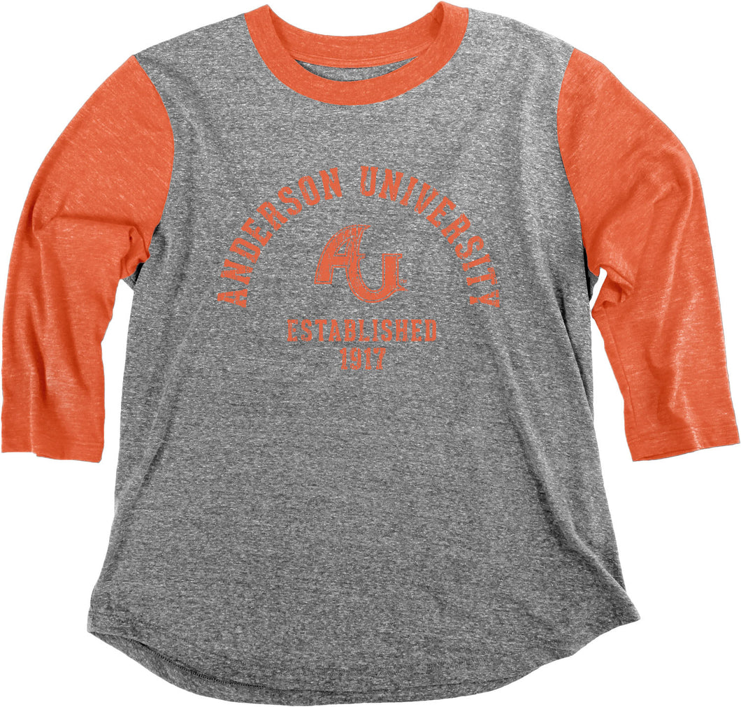 Blue 84 Ladies Tri-Blend Baseball Tee, Heather/Orange
