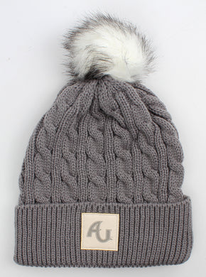 Ahead Ladies Knit Beanie W/ Pom, Slate Grey