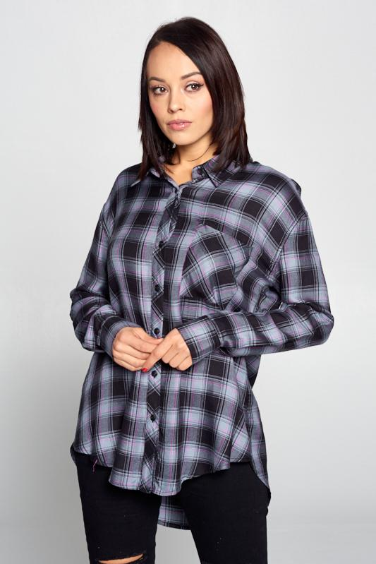 Women's Plaid Long Sleeve Buttoned Top