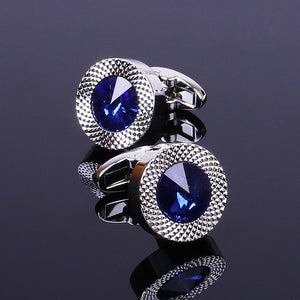 Men's Blue Crystal Cone Classic Cufflinks