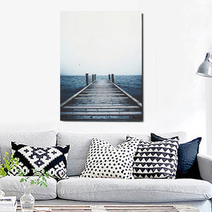 Dark Blue Sea Landscape Canvas Nordic Poster - Indoor Angels