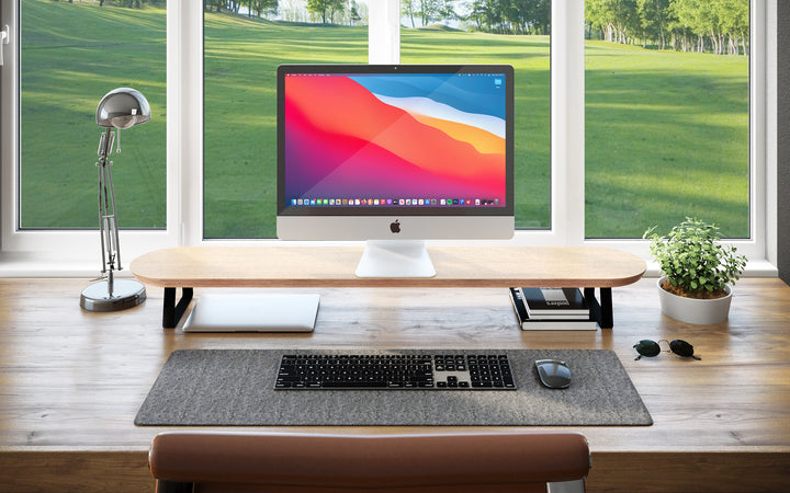 Flosku Wood Monitor Stands 'Beautiful & Minimalist Platforms' for your Home Office
