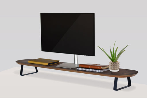 WOOD DESK MONITOR STAND - RISE EXTRA WIDE - WALNUT & BLACK