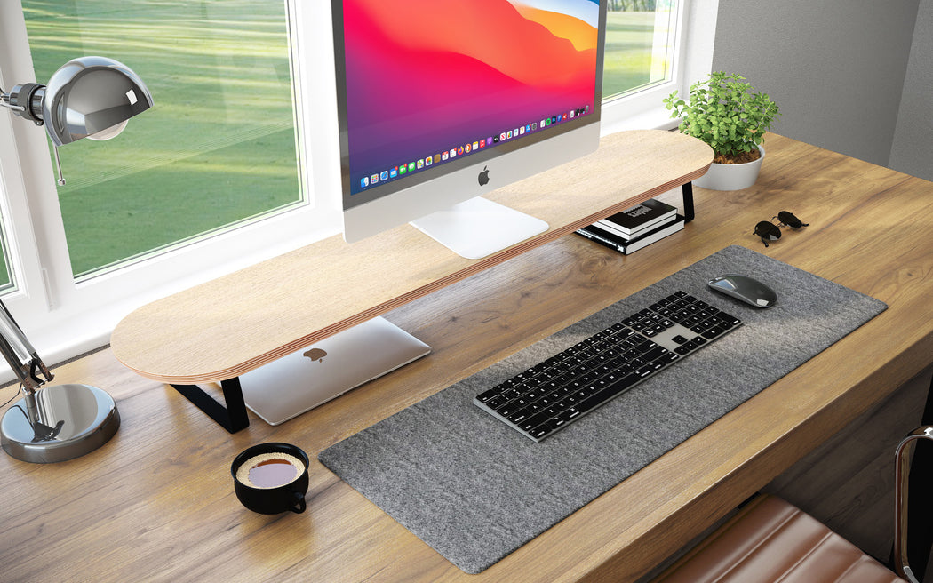 WOOD DESK MONITOR STAND - RISE EXTRA WIDE - OAK & BLACK