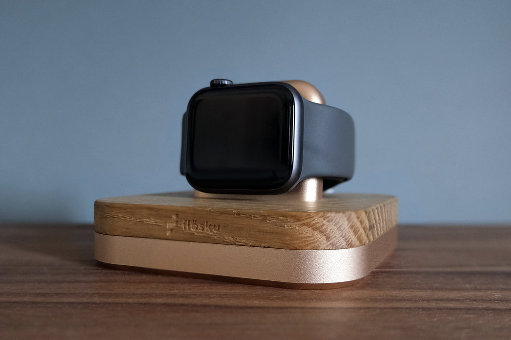 NORA DOCK FOR APPLE WATCH - ROSE GOLD & OAK