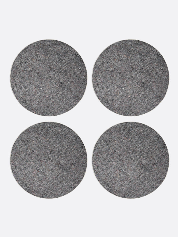 WOOL FELT ROUND COASTERS, SET OF 4, DARK GREY