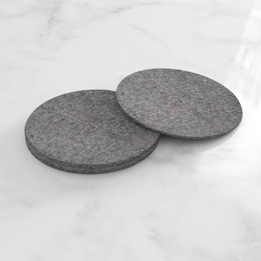 WOOL FELT ROUND COASTERS, SET OF 4, DARK MOTTLED GREY