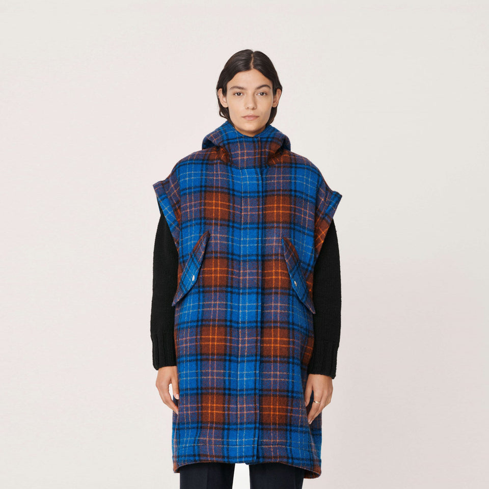 HUNTER CHECK VIRGIN WOOL PARKA TARTAN