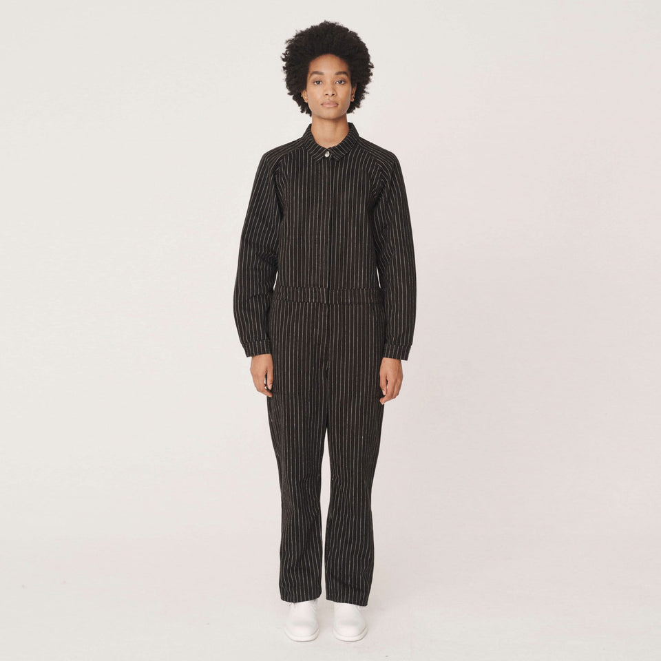 GARLAND COTTON TWILL PINSTRIPE JUMPSUIT BLACK