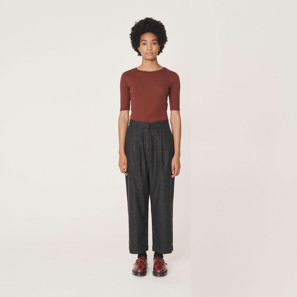 MARKET WOOL FLANNEL TROUSERS CHARCOAL