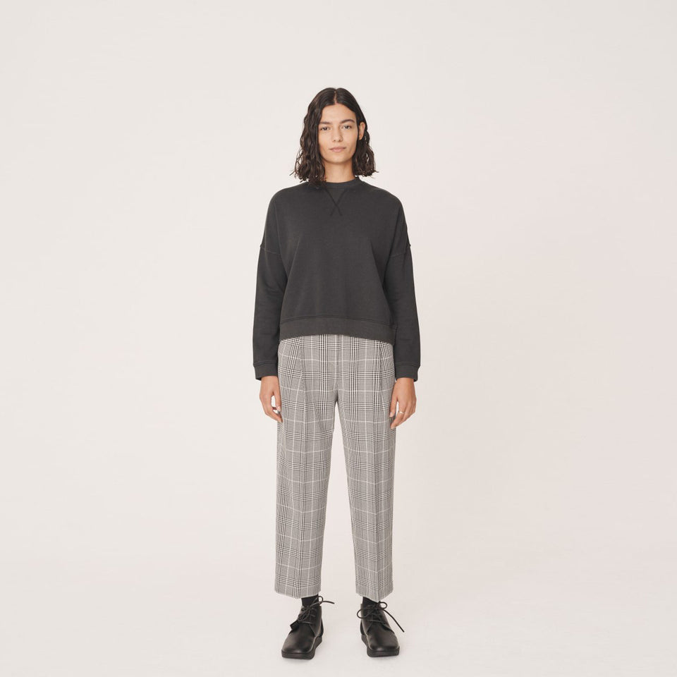 MARKET LIBERTAD CHECK TROUSERS BLACK ECRU