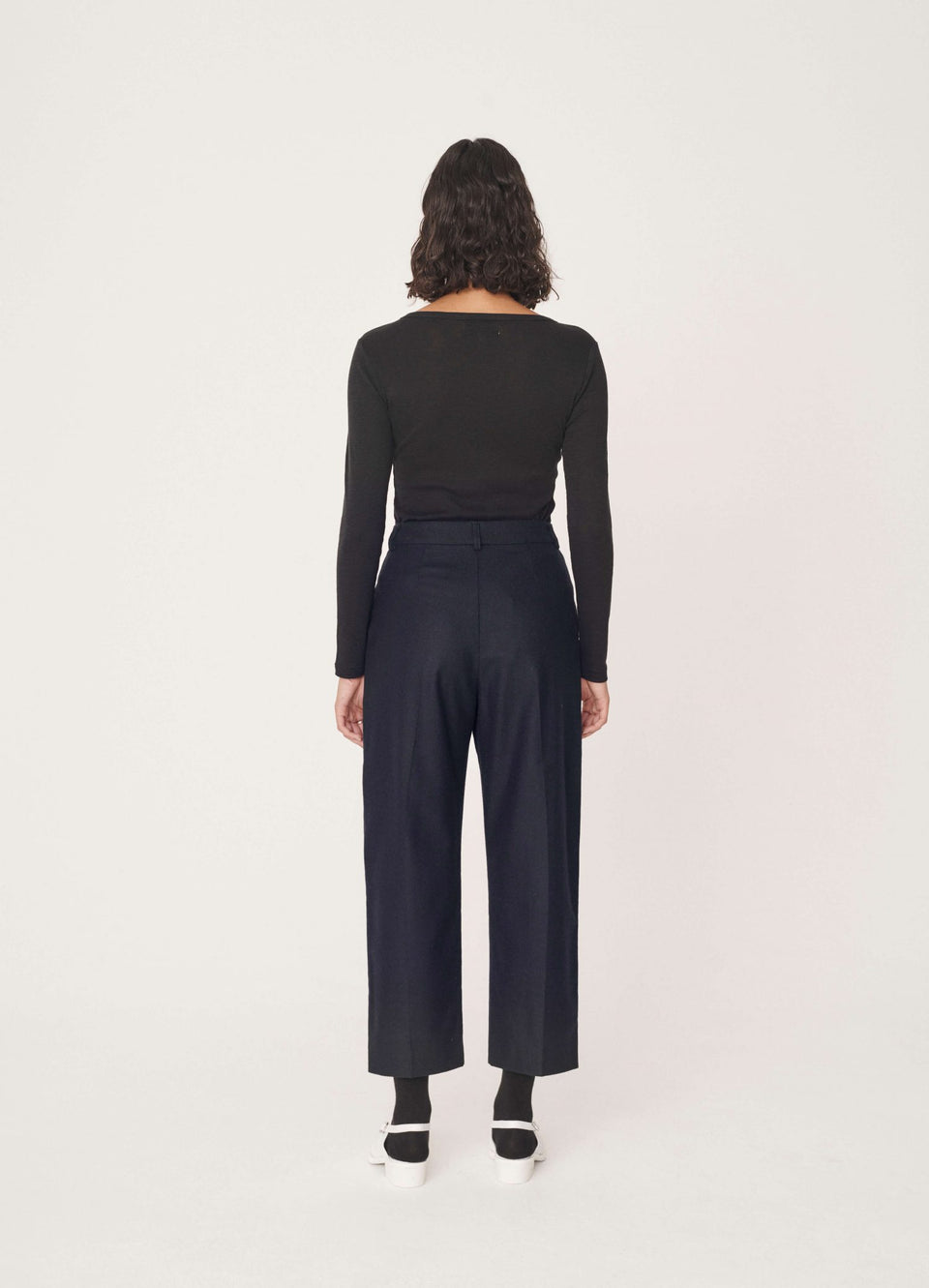 MARKET WOOL FLANNEL TROUSERS NAVY