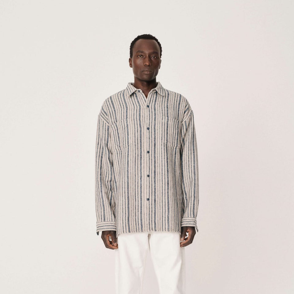 ANDRE WOOL STRIPE SHIRT BLUE BROWN