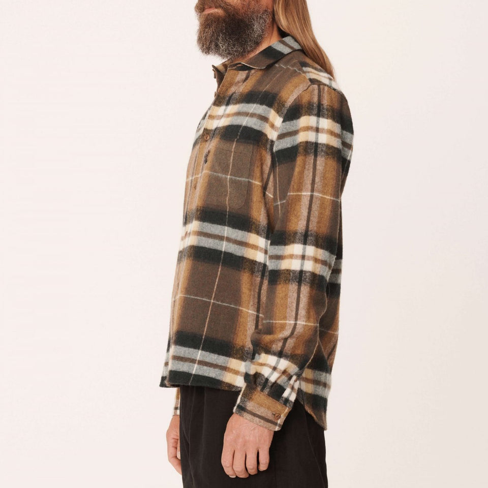 CURTIS WOOL CHECK SHIRT OLIVE