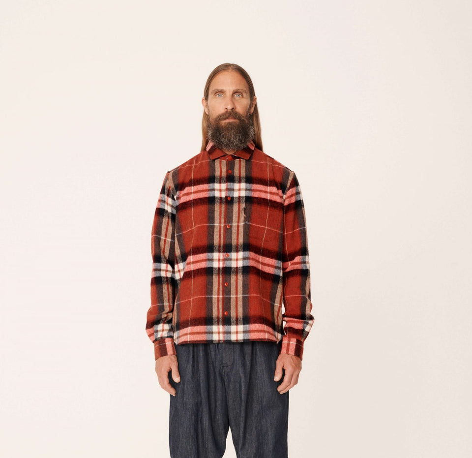 CURTIS WOOL CHECK SHIRT RED