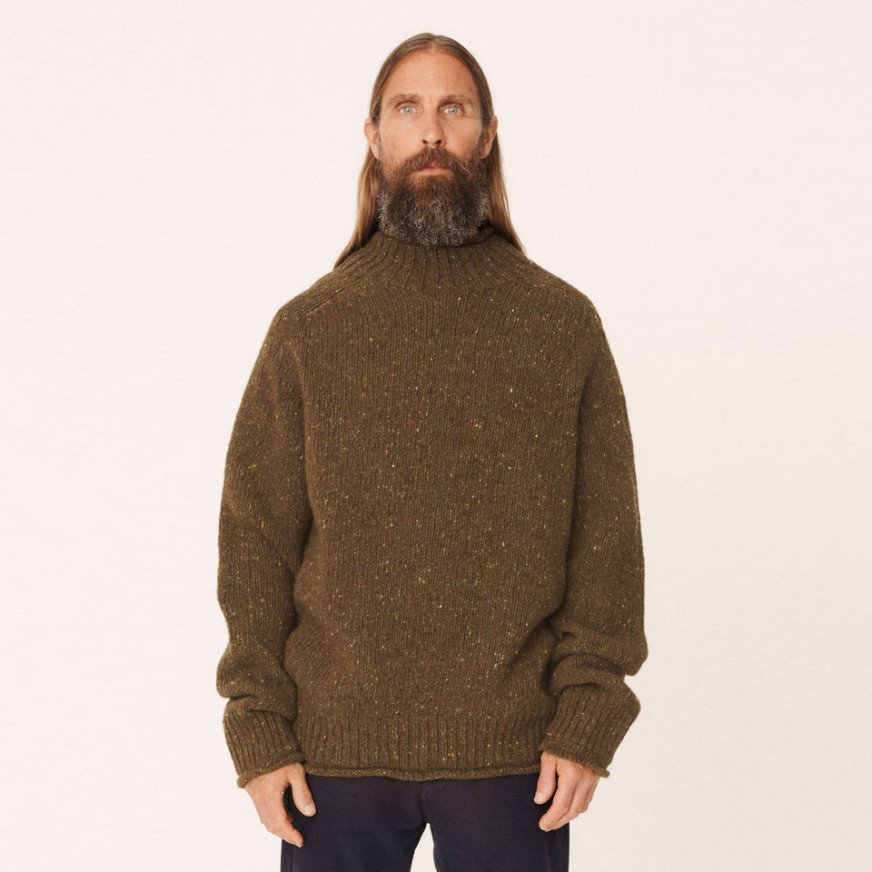 DIDDY DONEGAL WOOL TURTLE NECK JUMPER OLIVE