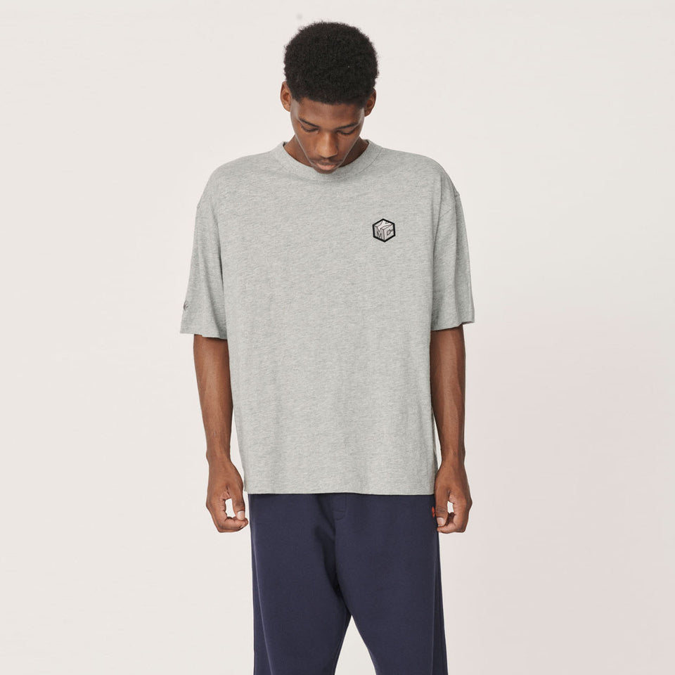 YMC x PREF - TRIPLE SS COTTON T-SHIRT 95 EMBLEM FRONT CUBE / LINE BACK GREY