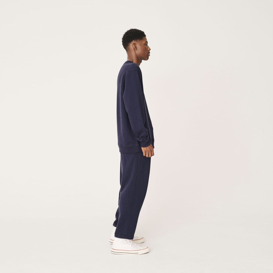YMC x PREF - TRIPLE CREW COTTON SWEATSHIRT 95 NAVY