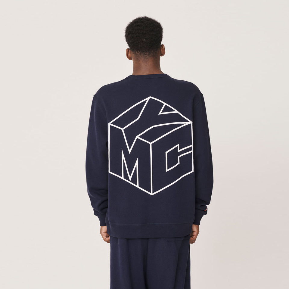 YMC x PREF - TRIPLE CREW COTTON SWEATSHIRT 95 FLOCK FRONT / CUBE LINE BACK NAVY
