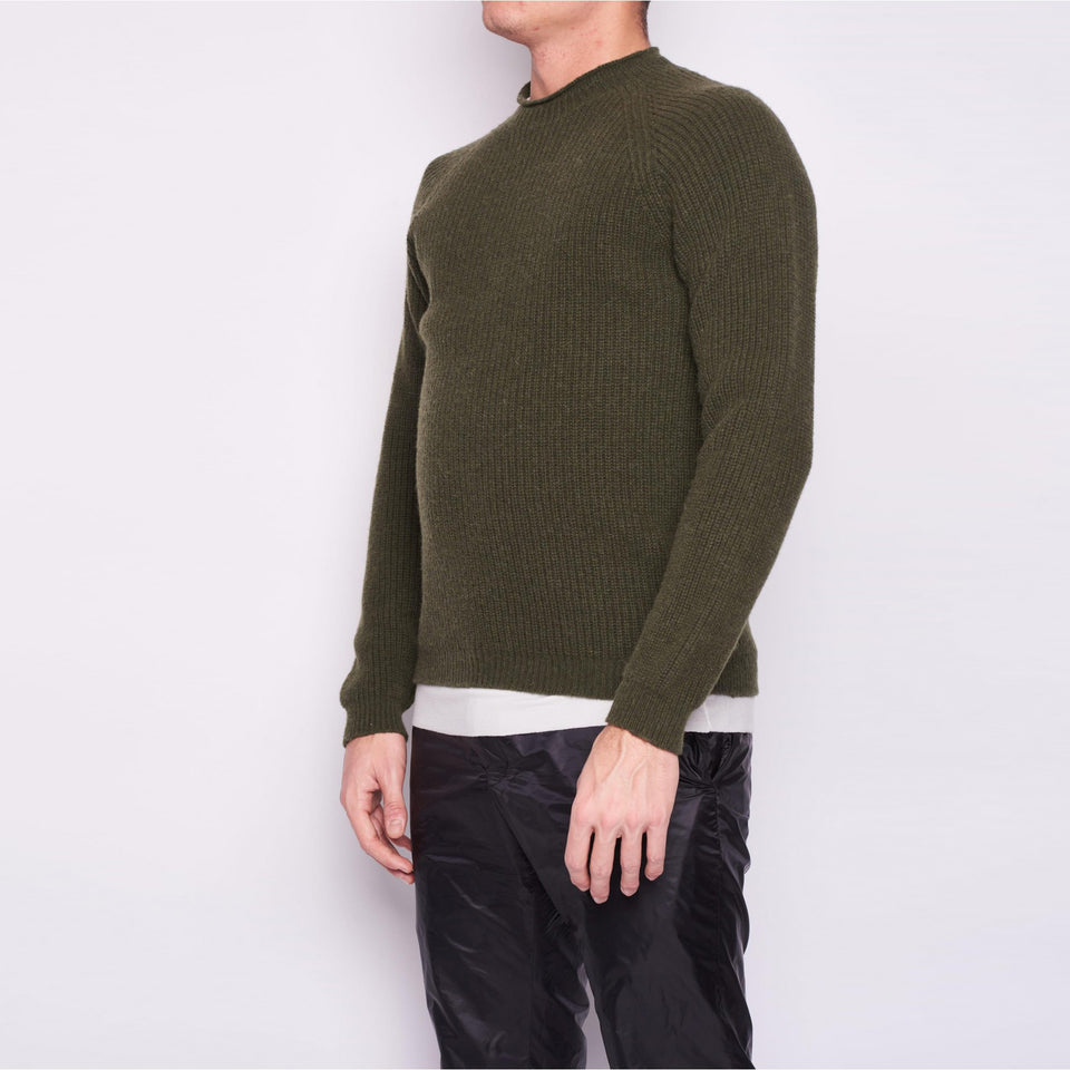 Round neck english sweater in full alpaca blend
