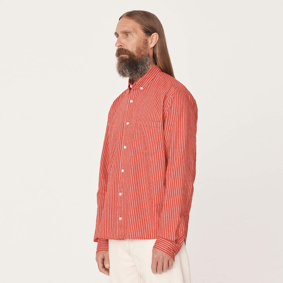 Dean Cotton Linen Stripe Red
