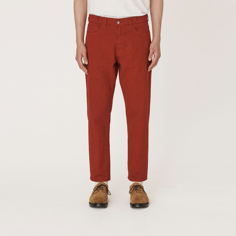 Tearaway Cotton Canvas Jeans Red