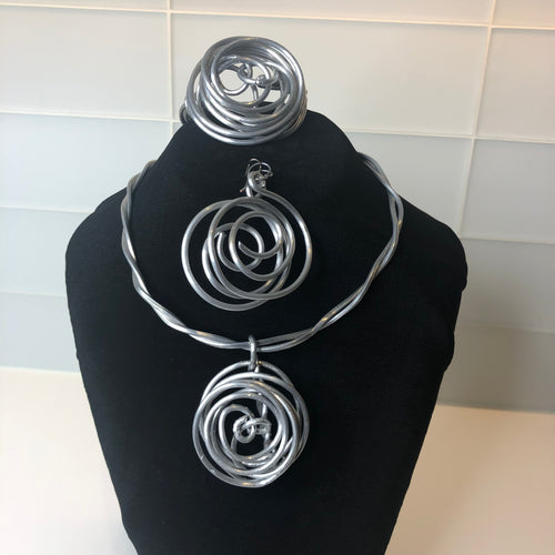Silver Tone Spiral Necklace 3-Piece Set