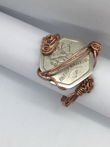 The zodiac sign wrapped in copper bracelet