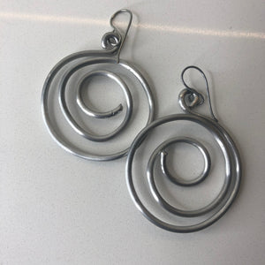 Spiral silver tone earrings