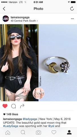 Lady Gaga in Britt Bolton Jewelry Opal Moon Ring