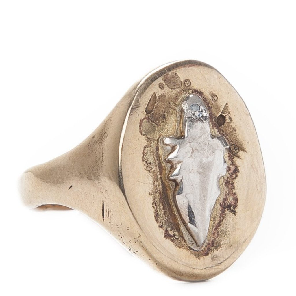 Arrowhead Diamond Signet Ring