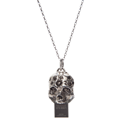 Zombie USB Necklace Silver