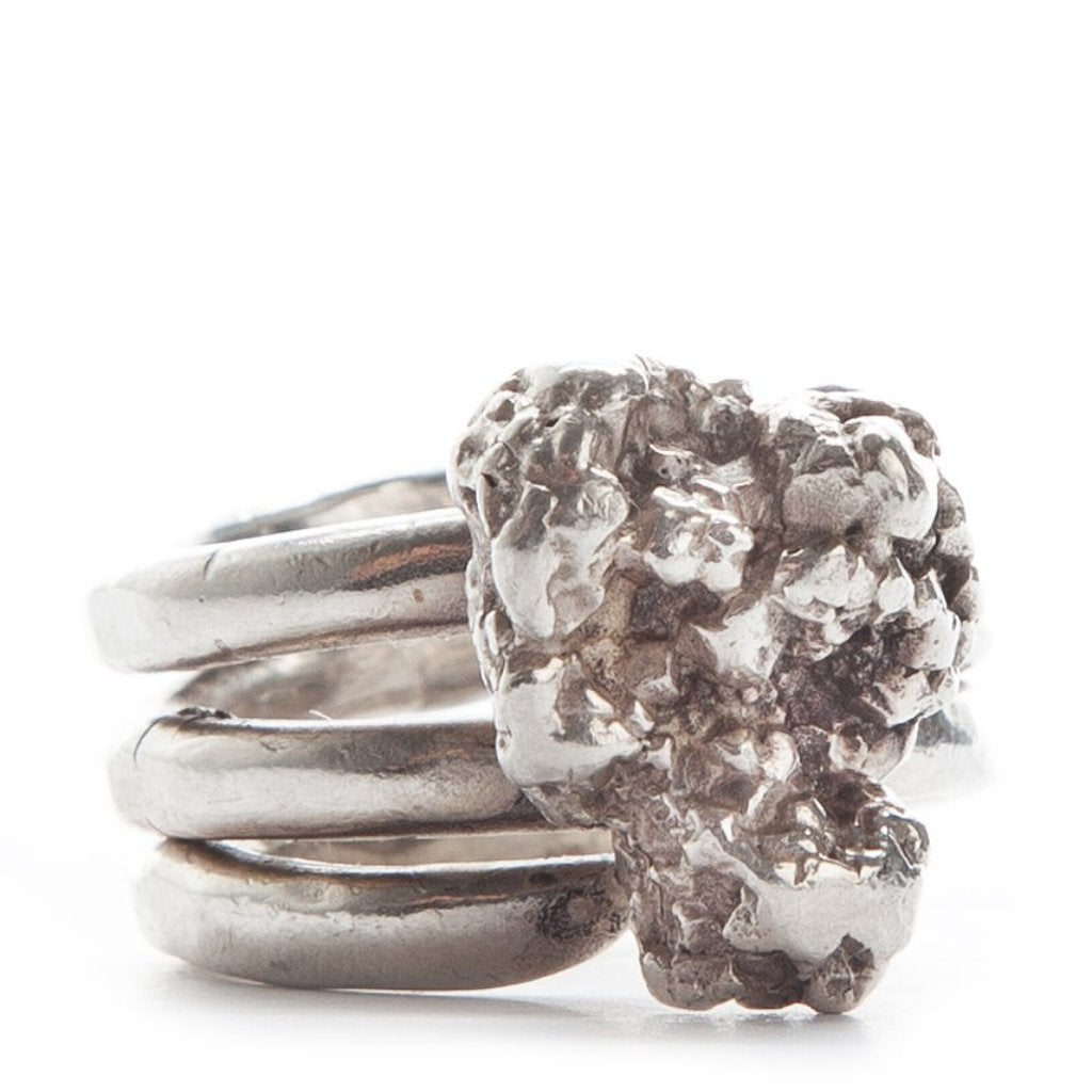 Britt Bolton meteor nugget ring with triple wrapped style ring band
