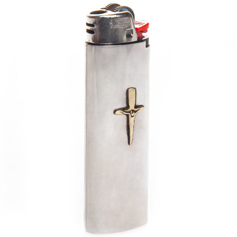 Crucifix Lighter Case Silver
