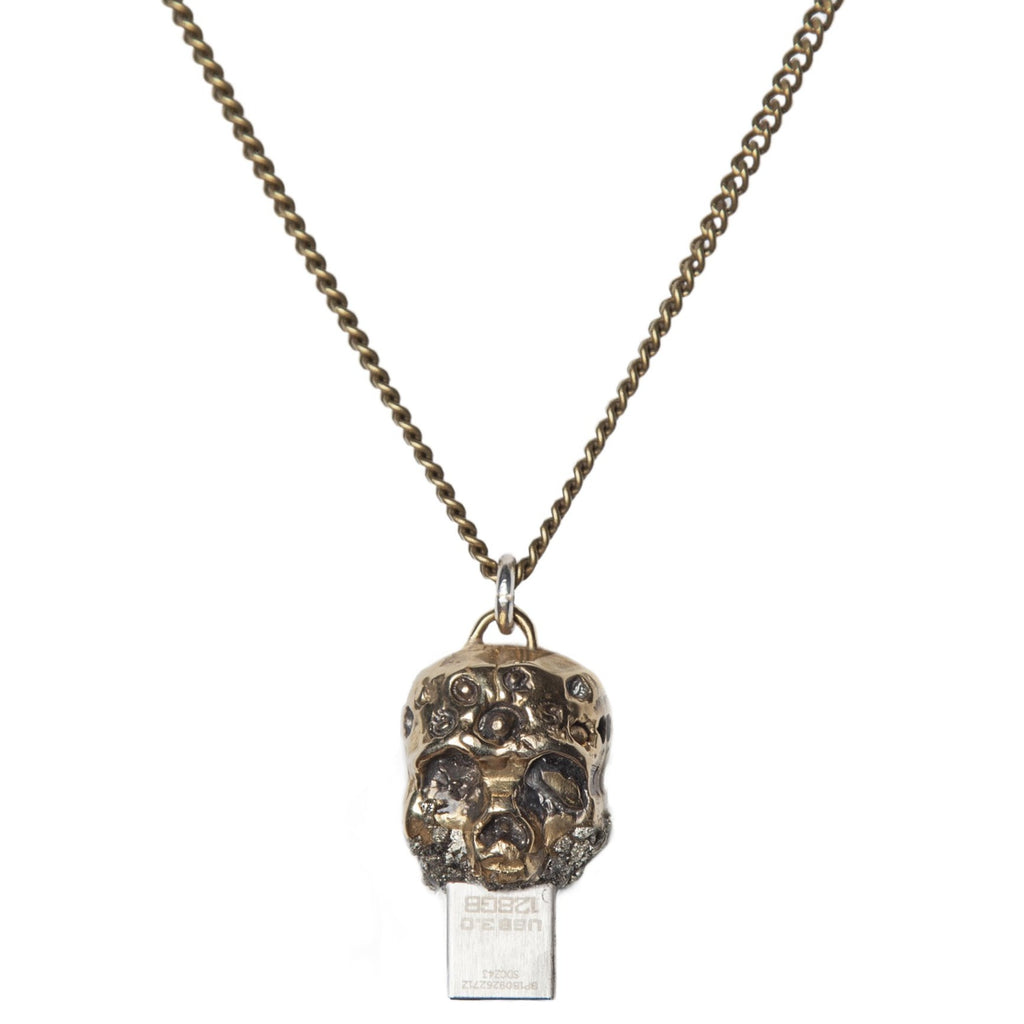 Zombie USB Necklace Gold