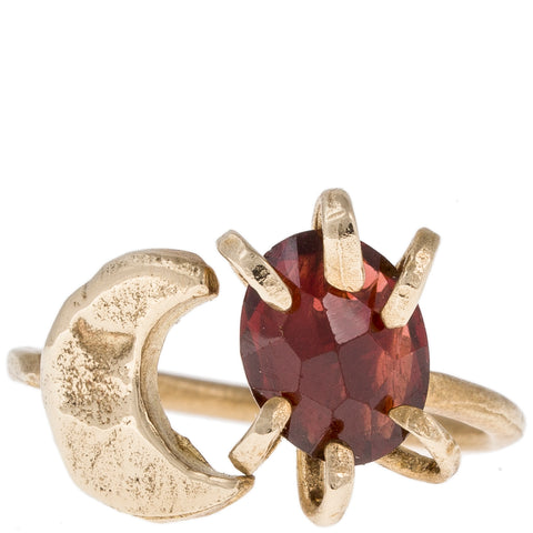 Moon & Stone Open Ring w/ Garnet