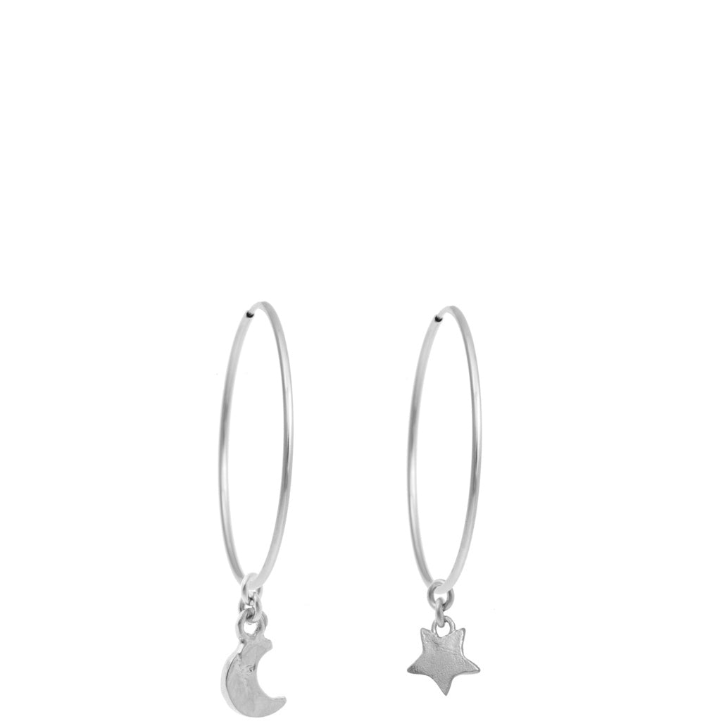 Star & Moon Hoops 1.5""