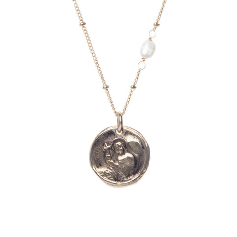 Holy Coin Necklace w/ Pearl