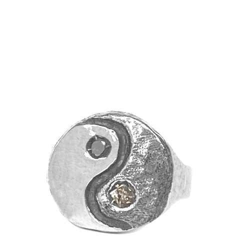 Yin Yang Diamond Signet Ring