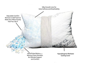 2 Pack Shredded Memory Foam Adjustable Pillows - Standard/Queen