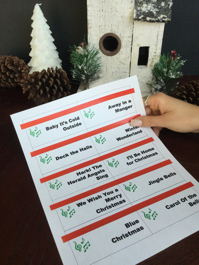 Printable Christmas Carol Game Cards For Pictionary Or Charades