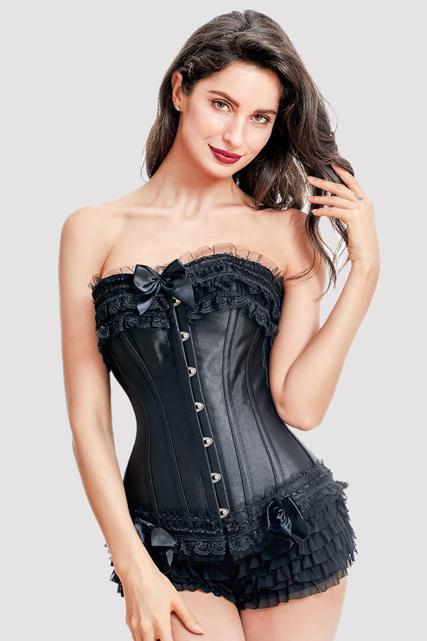 7614215c8 Waist Training Black Classic Lace Court Corset - vcorset