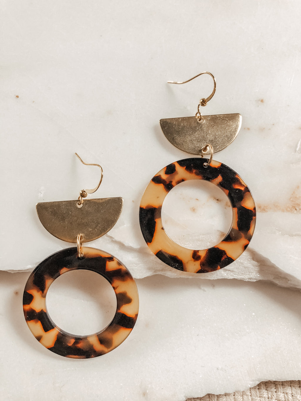 Round Acetate + Brass Earrings