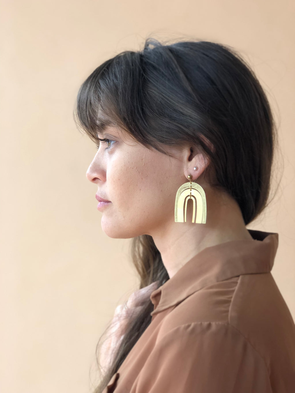 Brass Rainbow Earrings