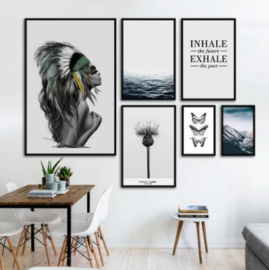Fashion Landscape Indian Posters Canvas Art Print Painting Wall Pictures For Living Room Nordic Beautiful Girl Butterfly Ocean