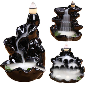 Behogar Ceramic Glaze Backflow Cone Incense Smoke Burner Censer Tower Holder for Home Decoration Relieving Stress Relaxing Mood