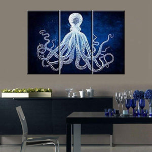 Pure Color Octopus Canvas Wall Art Print Animals Painting for Office Room Wall Art Retro Cuttlefish Squid Marine Life Home Decor