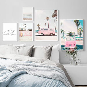 Pink Bus Sky Sea Beach Coconut Palm Quote Nordic Posters And Prints Wall Art Canvas Painting Wall Pictures For Living Room Decor