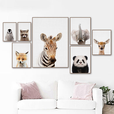 Cartoon Zebra Deer Panda Fox Wall Art Canvas Painting Posters And Prints Wall Pictures Kids Room Quadro Wall Decor