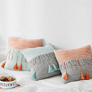 Cable Knit Cushion Cover Vintage Mix color Grey Blue Orange Tassels Pillow Case Soft Home Decor Pillow cover Bohemia Pillow